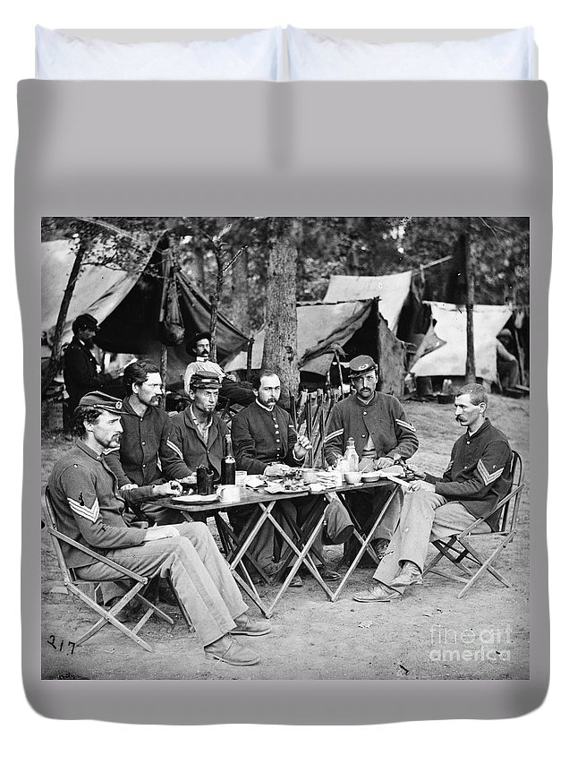 1863 Duvet Cover featuring the photograph Civil War: Union Officers by Granger