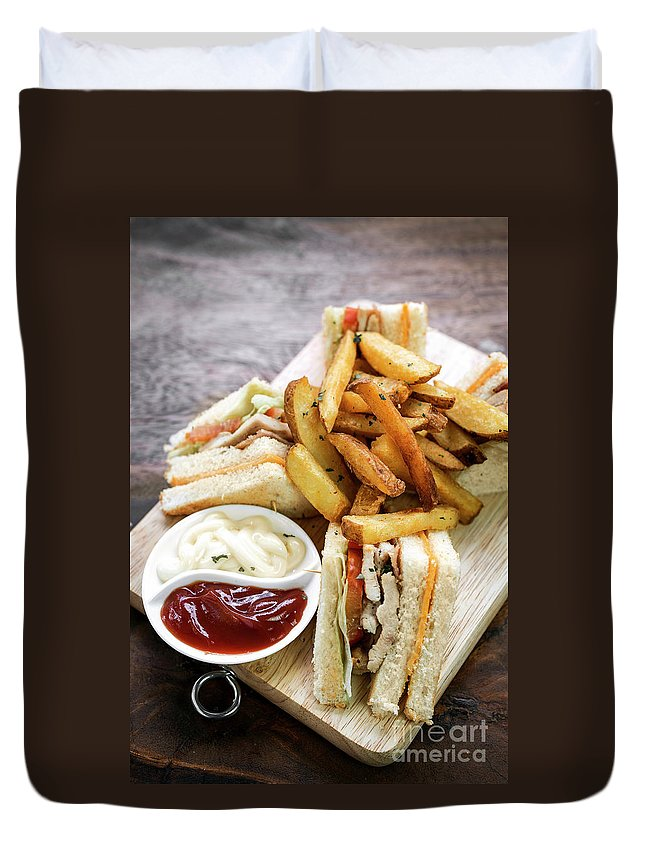 Sandwich Duvet Cover featuring the photograph Classic Club Sandwich With Fries On Wooden Board by Jacek Malipan