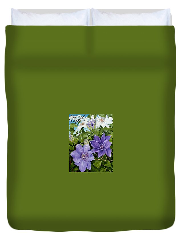 Clematis Duvet Cover featuring the painting Clematis 2 by Jerrold Carton