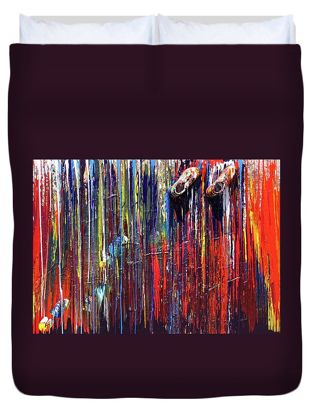 Fusionart Duvet Cover featuring the painting Climbing the Wall by Ralph White