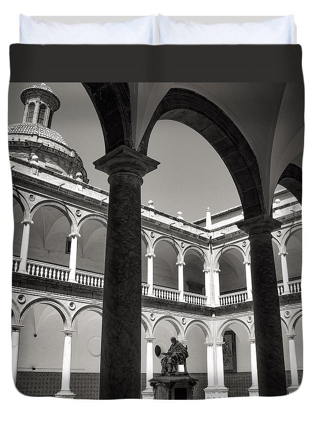 Cloister Duvet Cover featuring the photograph Cloister Real Colegio Seminario Del Corpus Christi by For Ninety One Days