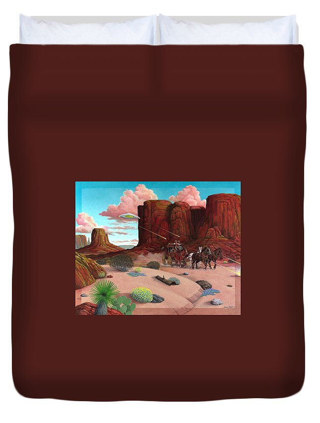 Cowboys Duvet Cover featuring the painting Close Encounter by Snake Jagger