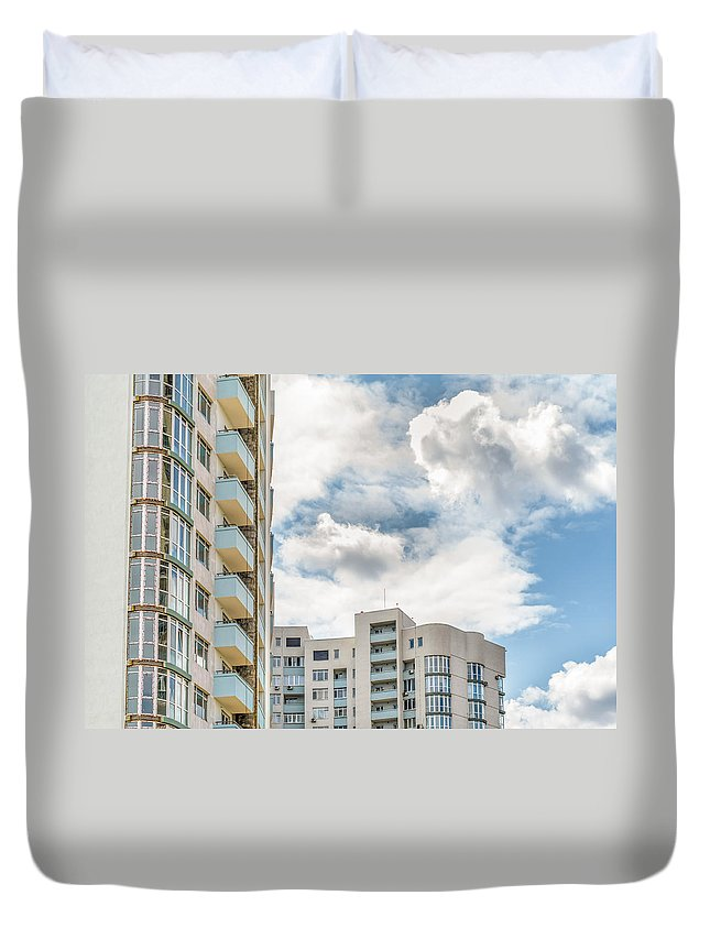 Apartment Duvet Cover featuring the photograph Clouds And Buildings by Alain De Maximy