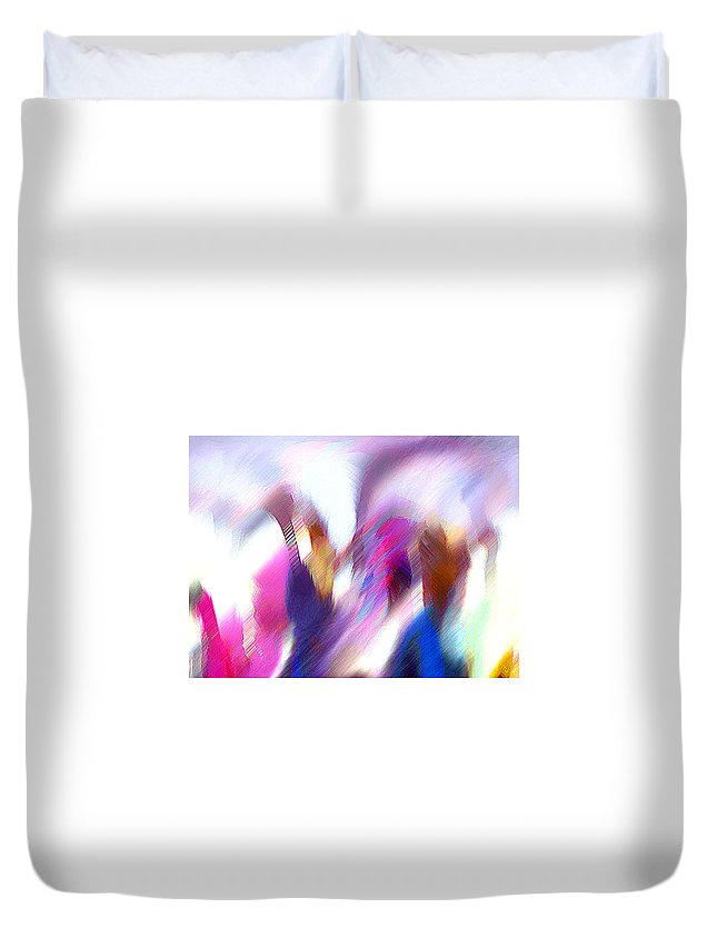 Digital Media Duvet Cover featuring the painting Color Dance by Anil Nene
