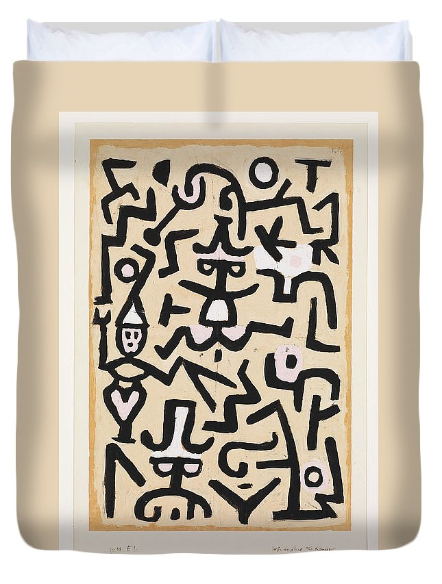 Paul Klee Comedians' Handbill Duvet Cover featuring the painting Comedians' Handbill by Paul Klee