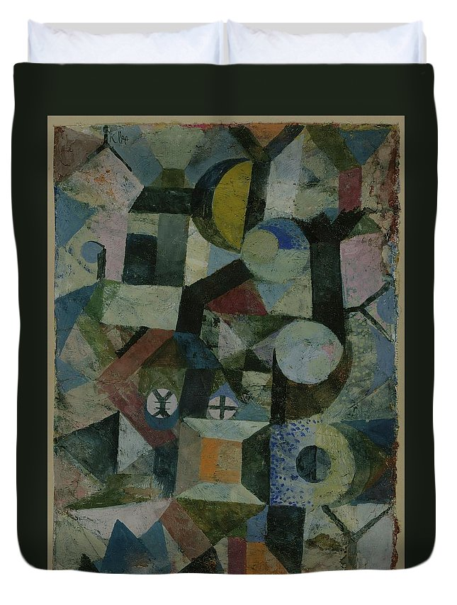 Paul Klee Composition With The Yellow Half-moon And The Y Duvet Cover featuring the painting Composition With The Yellow Half-moon And The Y by Paul Klee