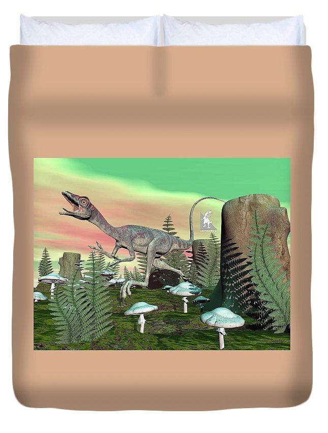 Compsognathus Duvet Cover featuring the digital art Compsognathus Dinosaur - 3d Render by Elenarts - Elena Duvernay Digital Art