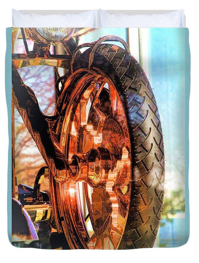 Liberty Bike Duvet Cover featuring the photograph Copper Bike Liberty Ambassador Ny by Chuck Kuhn