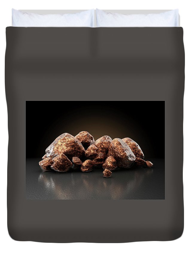 Copper Duvet Cover featuring the digital art Copper Nugget Collection by Allan Swart
