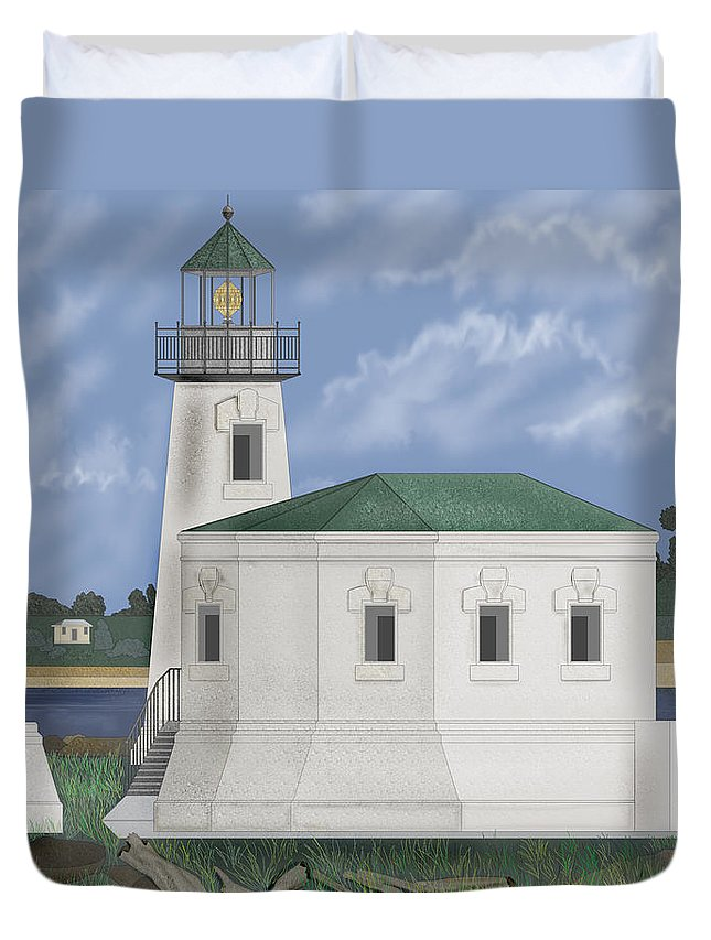 Lighthouse Duvet Cover featuring the painting Coquille River Lighthouse At Bandon Oregon by Anne Norskog
