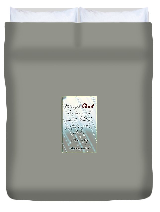 Duvet Cover featuring the photograph 1 Corinthians 15 20 by David Norman