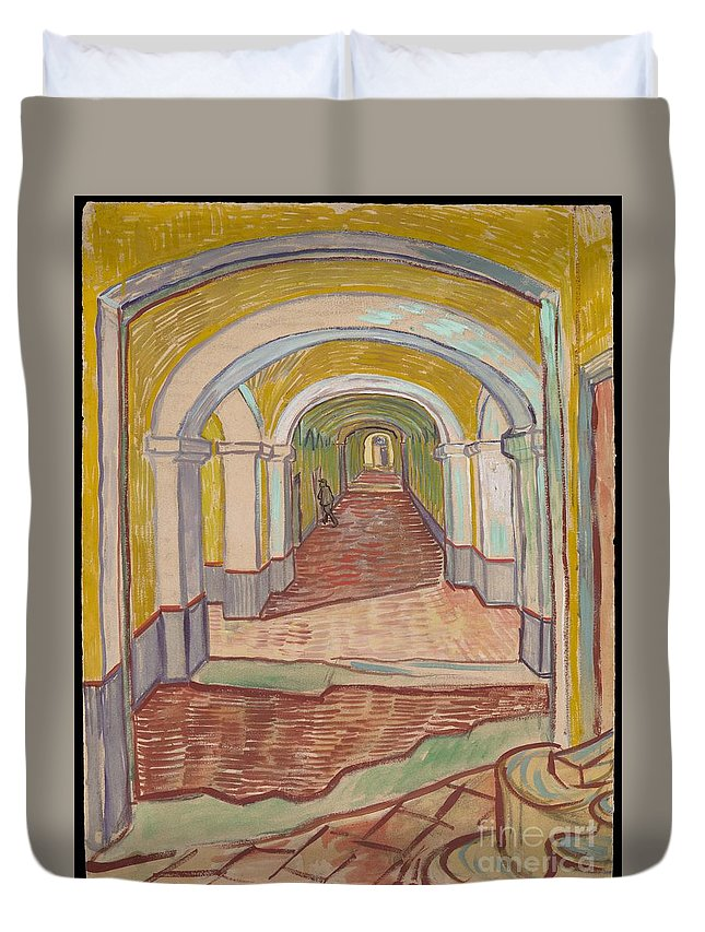 Vincent Van Gogh Duvet Cover featuring the painting Corridor In The Asylum by Celestial Images