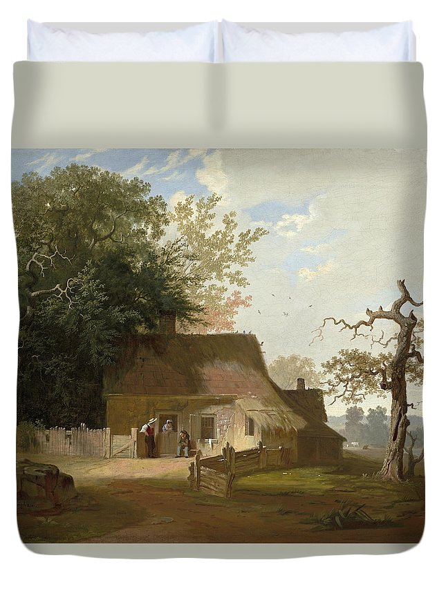Art Duvet Cover featuring the painting Cottage Scenery by George Caleb Bingham