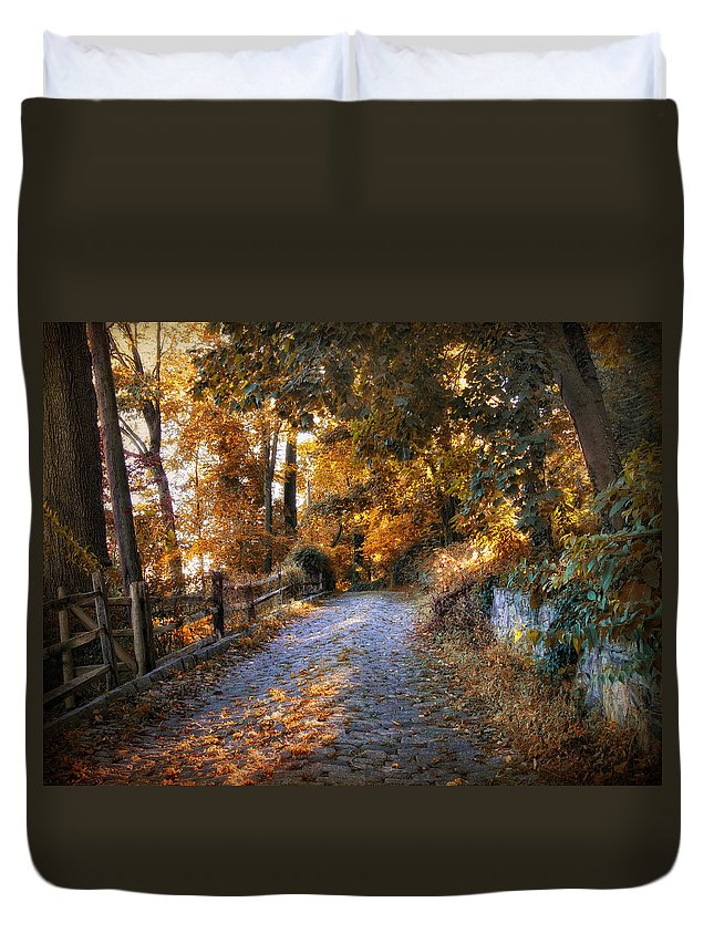 Duvet Cover featuring the photograph Country Cobblestone by Jessica Jenney