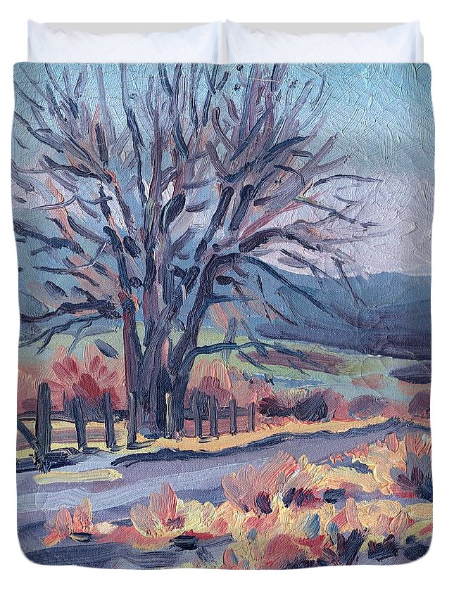 Road Duvet Cover featuring the painting Country Road by Donald Maier