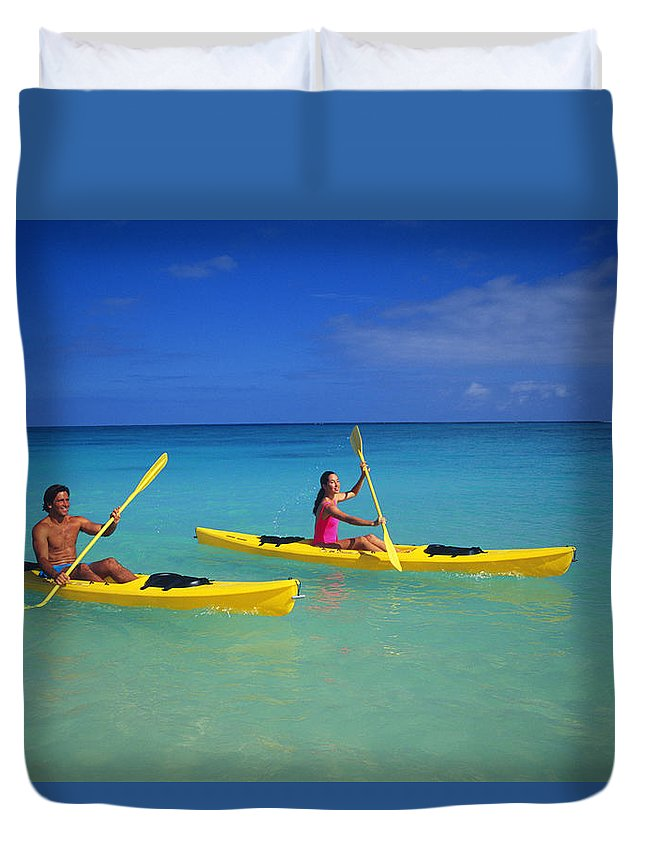 Above Duvet Cover featuring the photograph Couple Paddling by Kyle Rothenborg - Printscapes