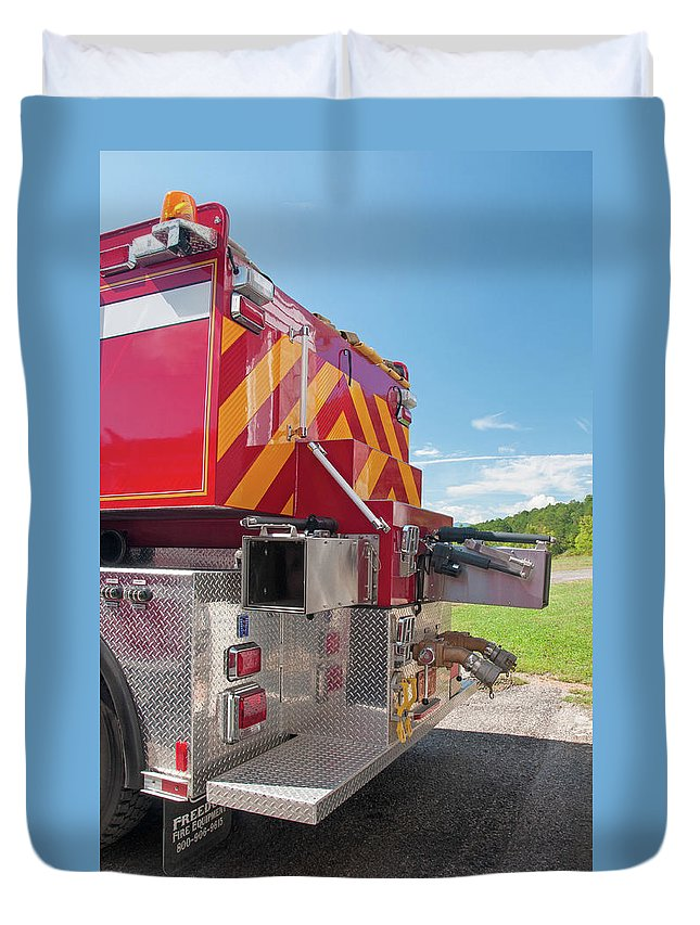 Cowee Duvet Cover featuring the photograph Cowee Fire Rescue - Tanker 1850, North Carolina by Timothy Wildey