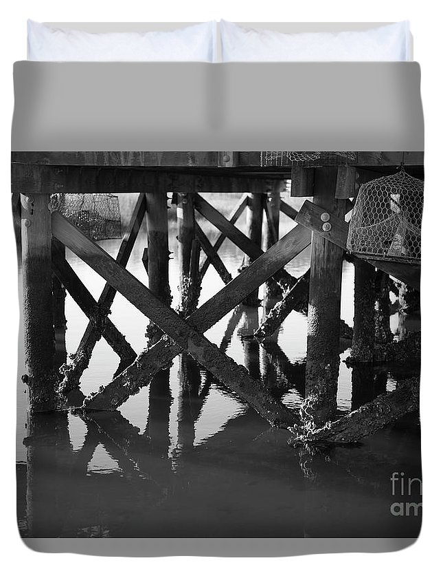 Dock Duvet Cover featuring the photograph Crab Traps by Dale Powell