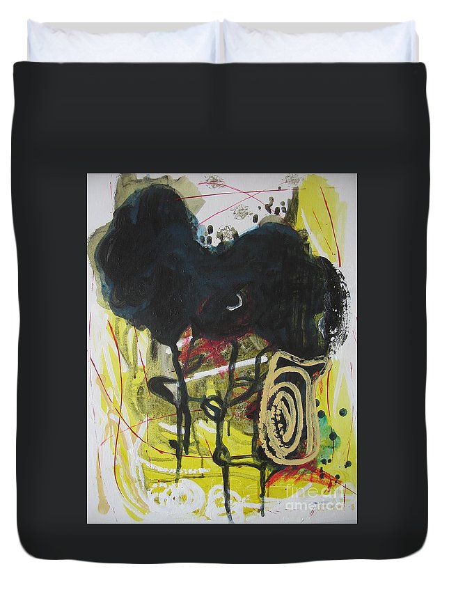 Abstract Paintings Duvet Cover featuring the painting Crescent2 by Seon-Jeong Kim