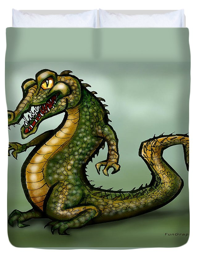 Crocodile Duvet Cover featuring the digital art Crocodile by Kevin Middleton