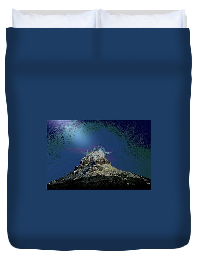 Abstract Duvet Cover featuring the photograph Crowsnest Mountain by Jeff Swan