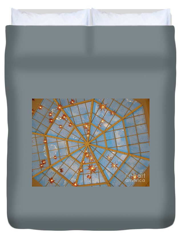 Glass Duvet Cover featuring the photograph Crystal Web by Maria Bonnier-Perez