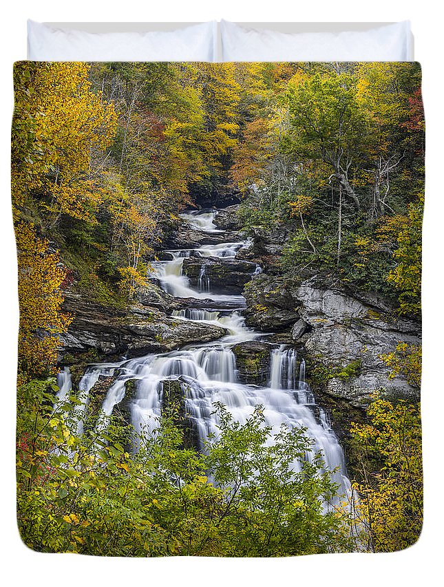 Appalachian Duvet Cover featuring the photograph Cullasaja Falls In Autumn by John MacLean