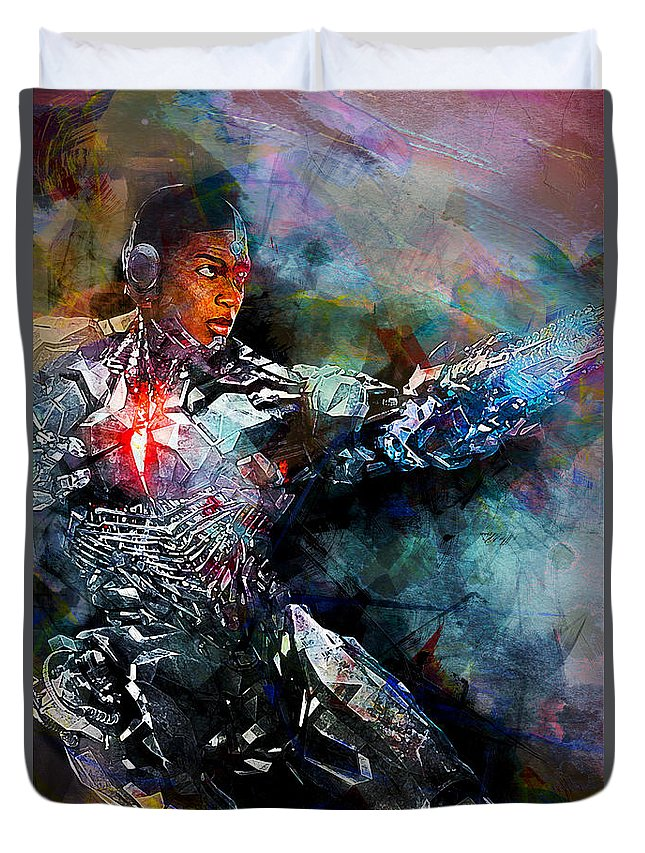 Batman Duvet Cover featuring the digital art Cyborg by Anna J Davis