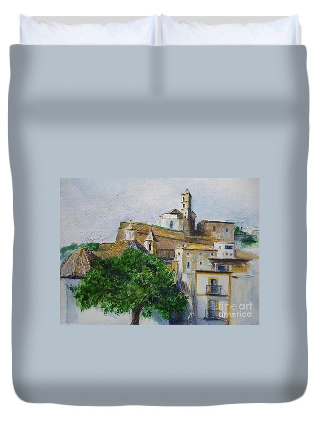 Buildings Duvet Cover featuring the painting D Alt Vila Ibiza Old Town by Lizzy Forrester