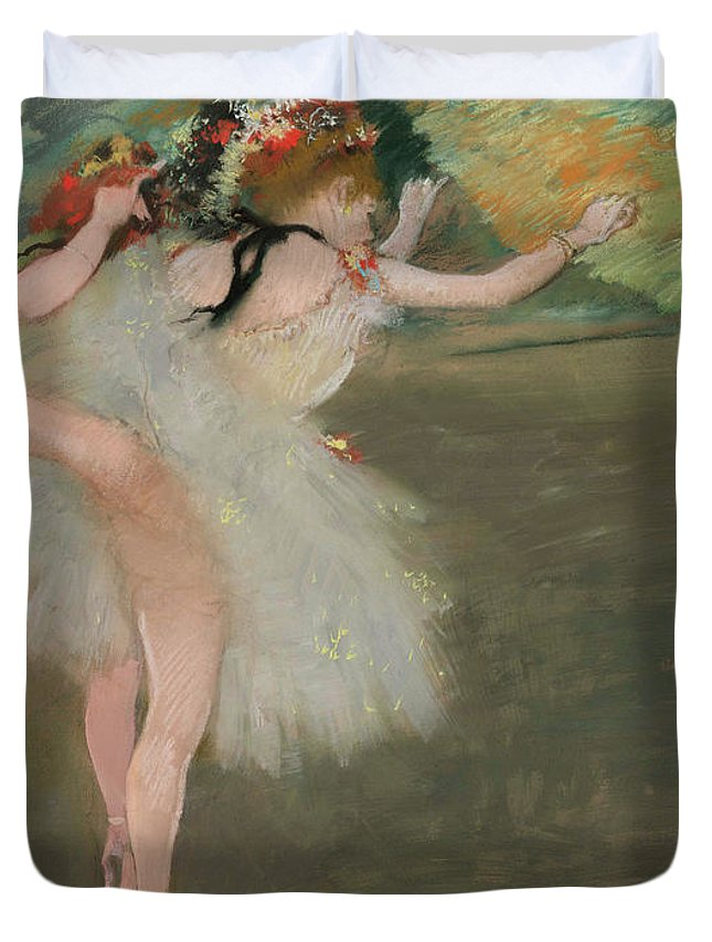 Dancers In White Duvet Cover featuring the painting Dancers In White by Edgar Degas