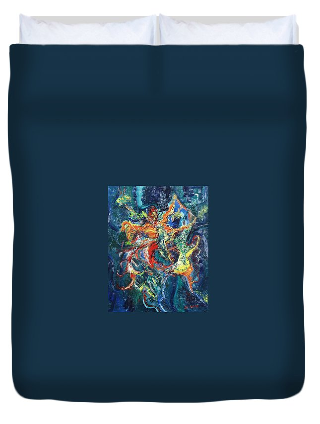 Butterfly Paintings Duvet Cover featuring the painting Dancing Butterflies by Seon-Jeong Kim