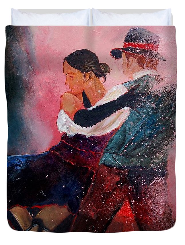 Music Duvet Cover featuring the painting Dancing Tango by Pol Ledent