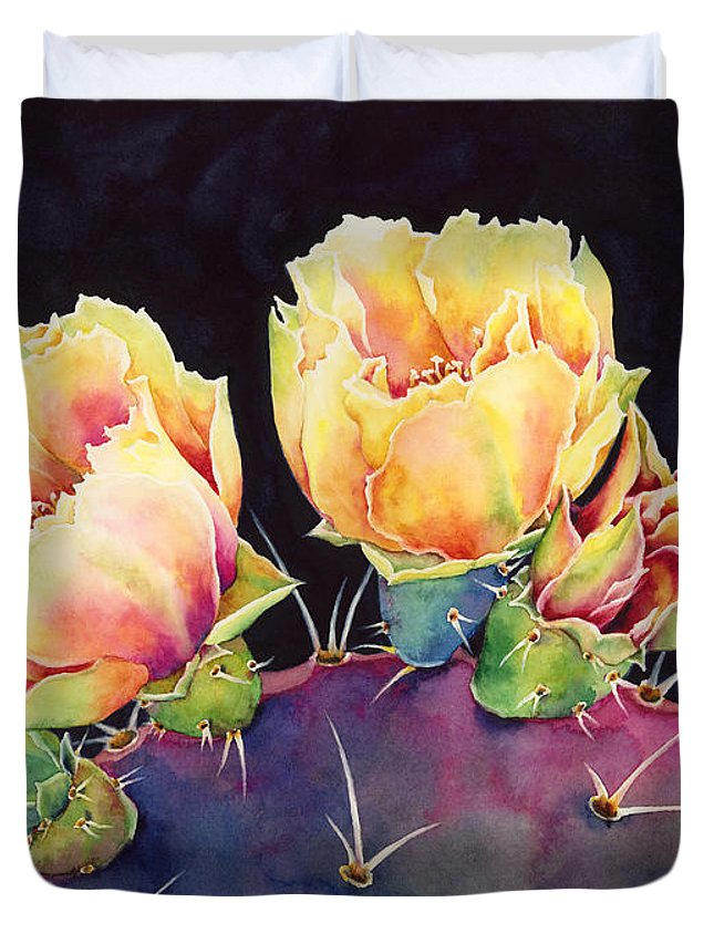 Cactus Duvet Cover featuring the painting Desert Bloom 2 by Hailey E Herrera