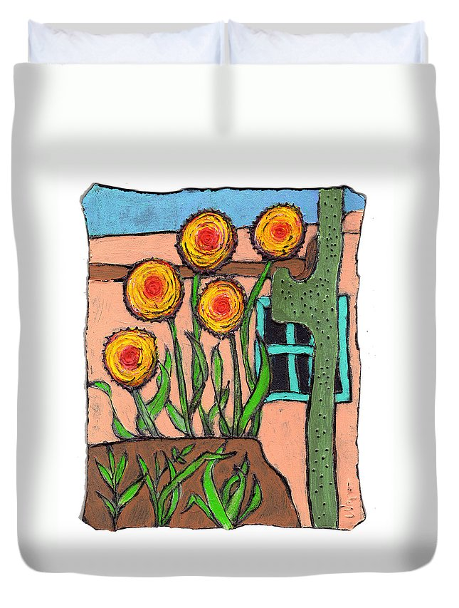 Desert Duvet Cover featuring the painting Desert Fantasy by Wayne Potrafka