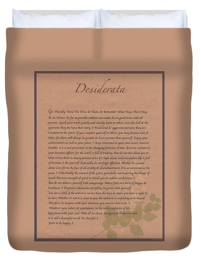 Desiderata Duvet Cover featuring the drawing Desiderata 9 by Desiderata Gallery