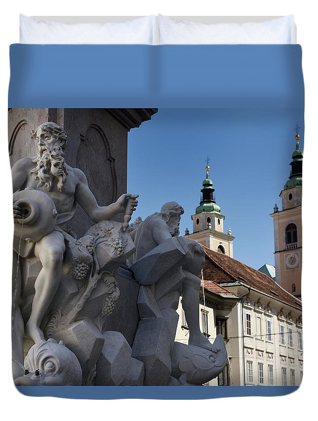 Detail Duvet Cover featuring the photograph Detail Of The Robba Marble Scultpure On The Fountain Of The Thre by Reimar Gaertner