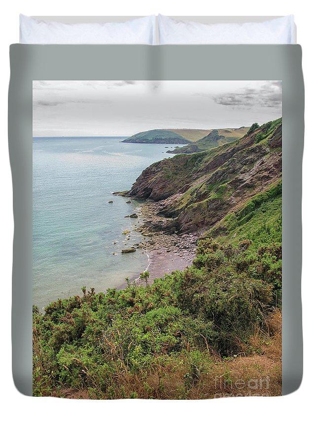 Devon Duvet Cover featuring the photograph Devon Coastal View by Patricia Hofmeester