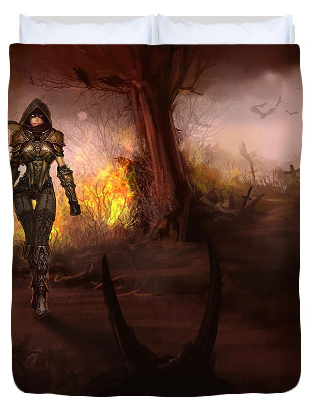 Diablo Iii Duvet Cover featuring the digital art Diablo IIi by Eloisa Mannion