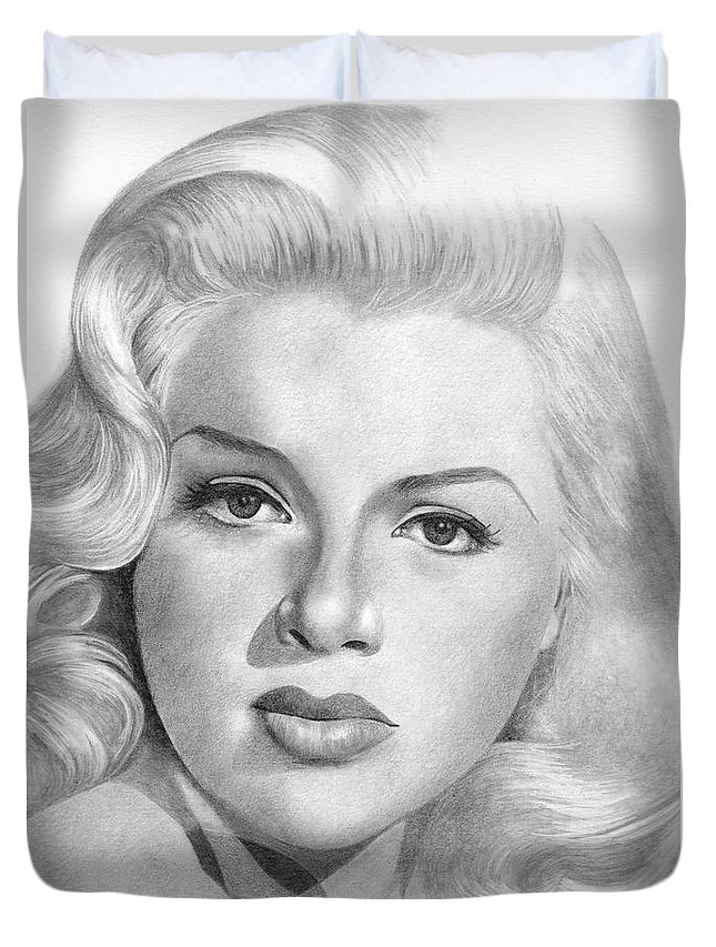 Diana Dors Duvet Cover featuring the drawing Diana Dors by Karen Townsend