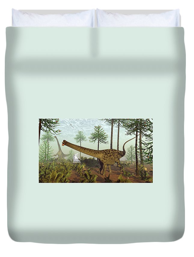 Diplodocus Duvet Cover featuring the digital art Diplodocus Dinosaurs Among Araucaria Trees - 3d Render by Elenarts - Elena Duvernay Digital Art