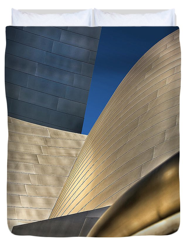 Disney Concert Hall Duvet Cover featuring the photograph Disney Hall Abstract 2 by Endre Balogh