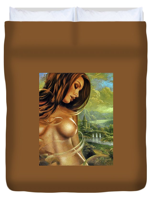 Nude Prints Duvet Cover featuring the painting Diva by Arthur Braginsky