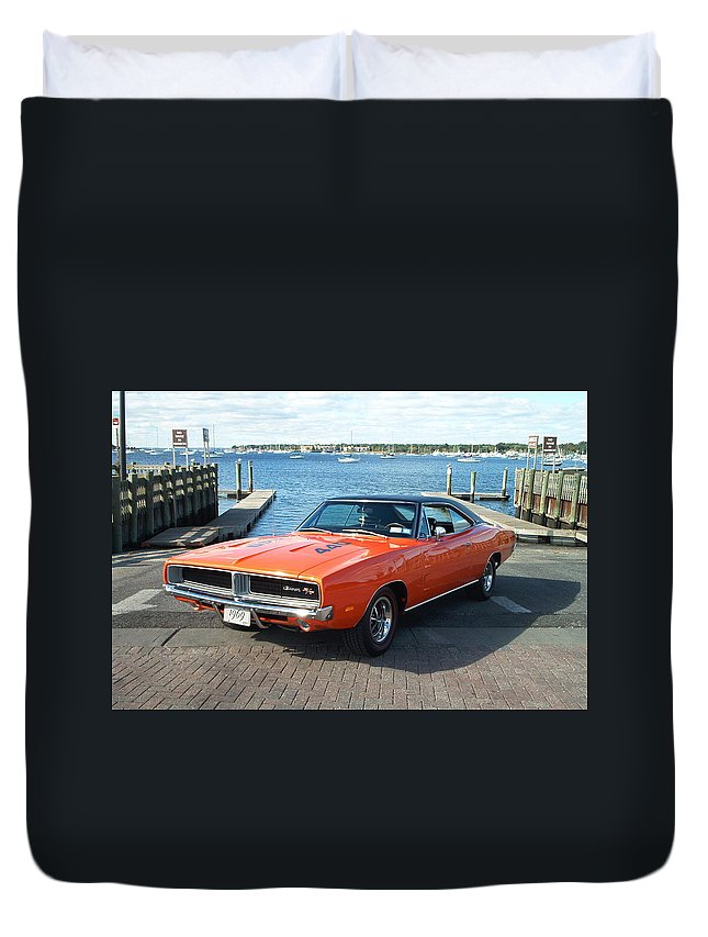 Dodge Duvet Cover featuring the digital art Dodge by Bert Mailer