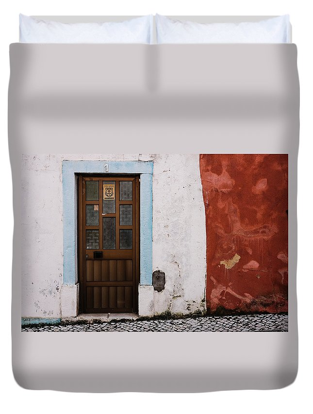 Town Duvet Cover featuring the photograph Door No 1 by Marco Oliveira