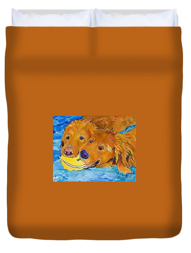 Golden Retriever Duvet Cover featuring the painting Double Your Pleasure by Pat Saunders-White