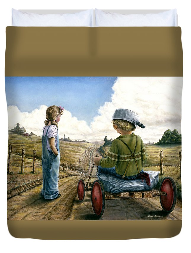 Children Playing Duvet Cover featuring the painting Down Hill Racer by Lance Anderson