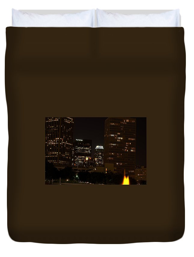 Clay Duvet Cover featuring the photograph Downtown L.a. In Hdr by Clayton Bruster