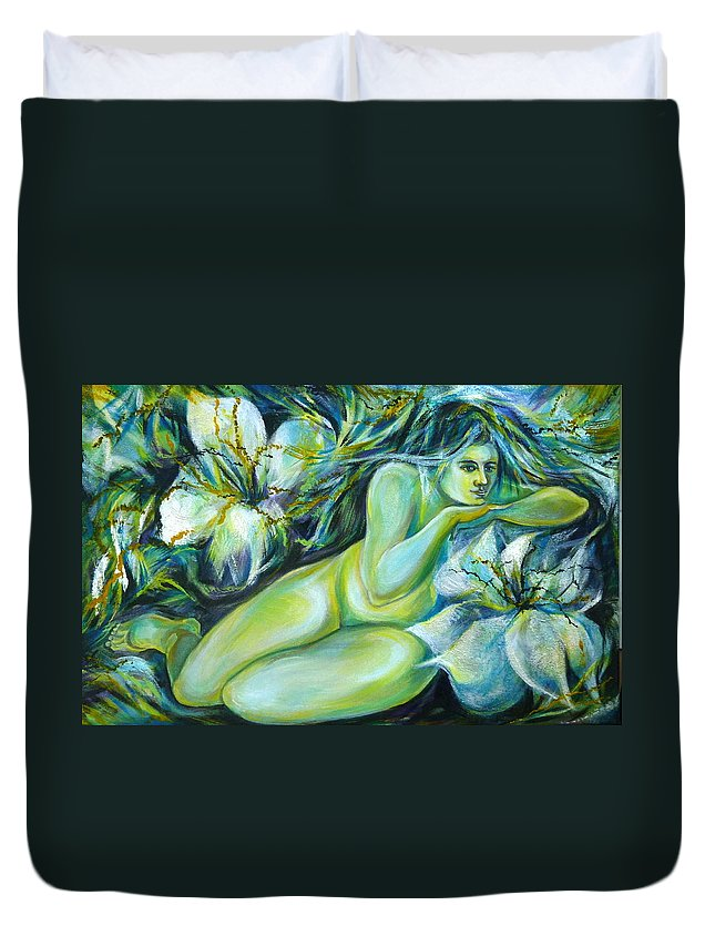 Fantasy Art Duvet Cover featuring the painting Dreaming Flower by Anna Duyunova