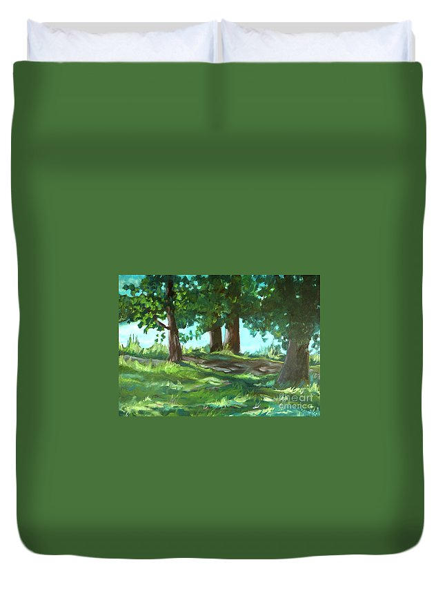 Expressionist Landscape Duvet Cover featuring the painting Dreaming On Fellows Lake by Jan Bennicoff
