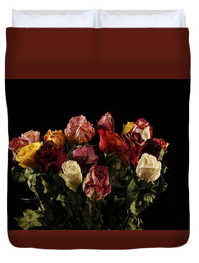 Old Duvet Cover featuring the photograph Dried Roses by Avril Christophe